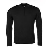 Men's Merino Extra Fine wool sweater with zip fastener - Black Night