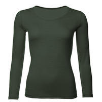 Women's functional T-shirt made of Merino wool - long sleeves - green