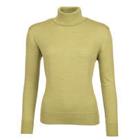 Women's polo neck sweater made of Extra Fine Merino wool - Cedar Green