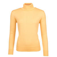Women's polo neck sweater made of Extra Fine Merino wool - Sun Light