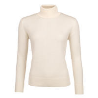 Women's polo neck sweater made of Extra Fine Merino wool - Vanilla Ice
