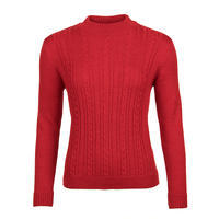 Women's patterned wool sweater made of Extra Fine Merino wool - Autumn Red