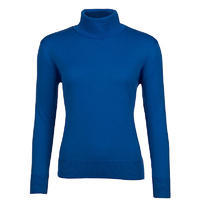 Women's polo neck sweater made of Extra Fine Merino wool - Blue Heaven