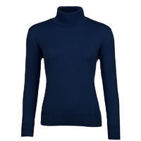 Women's polo neck sweater made of Extra Fine Merino wool- Navy Blue