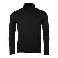 Men's polo neck sweater made of Extra Fine Merino wool - black