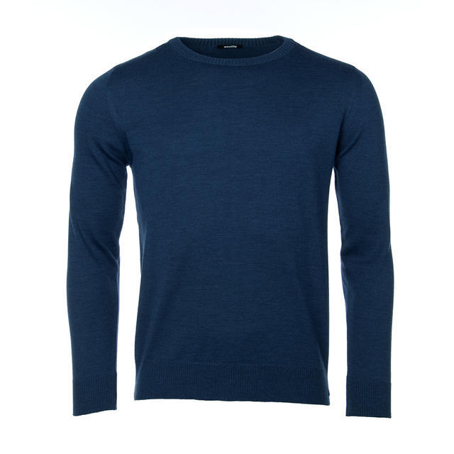 Men's wool Merino Extra Fine sweater - Navy Blue, M - 1