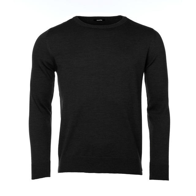 Men's wool sweater made of Extra Fine Merino wool - Black Night - 1