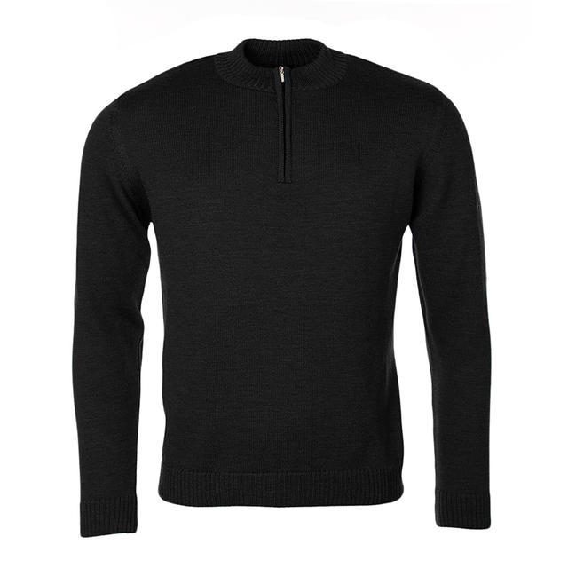 Men's Merino Extra Fine wool sweater with zip fastener - Black Night - 1