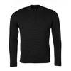 Men's Merino Extra Fine wool sweater with zip fastener - Black Night - 1/2