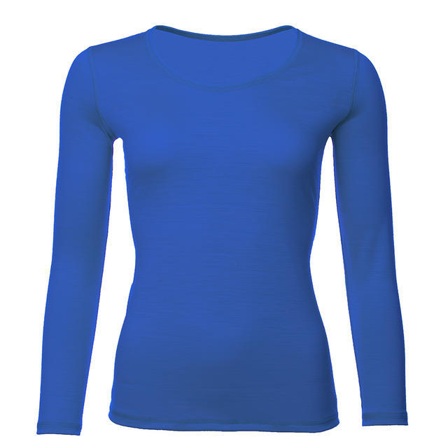 Women's functional T-shirt made of Merino wool - long sleeves – vivid blue, M - 1
