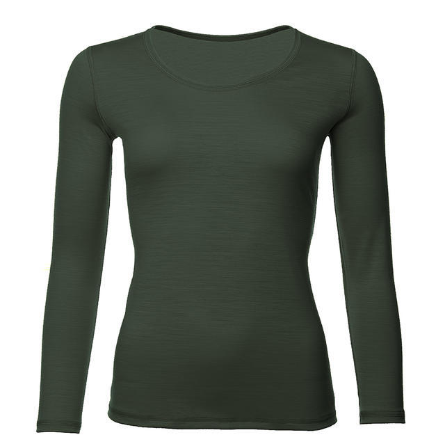 Women's functional T-shirt made of Merino wool - long sleeves - green, XXL - 1