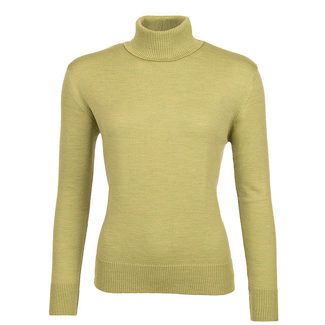 Women's polo neck sweater made of Extra Fine Merino wool - Cedar Green, L - 1