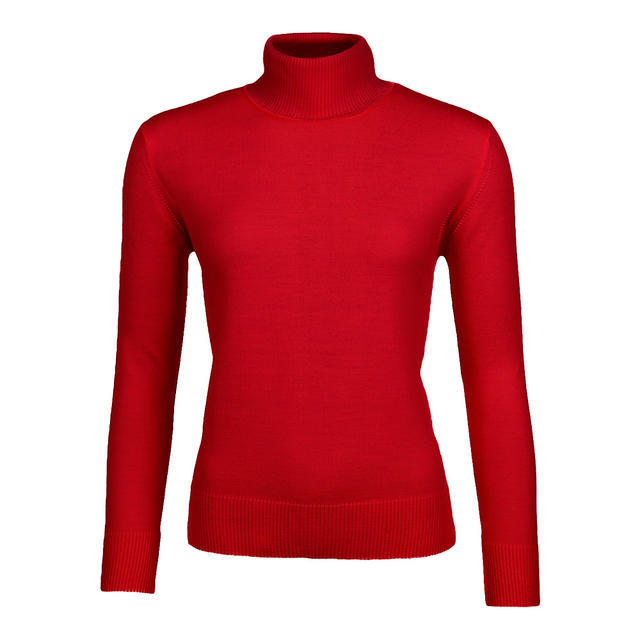 Women's polo neck sweater made of Extra Fine Merino wool - Claret, L - 1