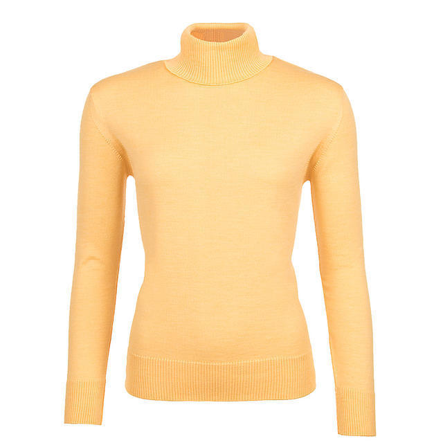 Women's polo neck sweater made of Extra Fine Merino wool - Sun Light, L - 1