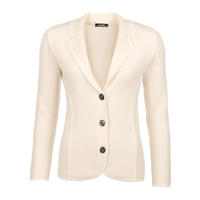 Women's woollen cardigan made of Extra Fine Merino wool - Vanilla Ice, XS - 1
