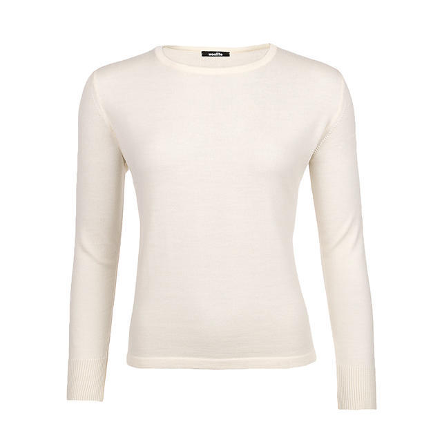 Women's wool sweater made of Extra Fine Merino wool - Vanilla Ice - 1