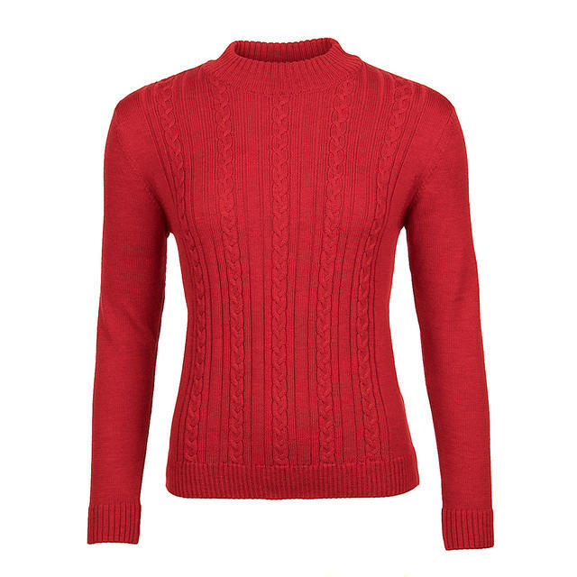 Women's patterned wool sweater made of Extra Fine Merino wool - Autumn Red - 1