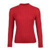 Women's patterned wool sweater made of Extra Fine Merino wool - Autumn Red, XL - 1/3