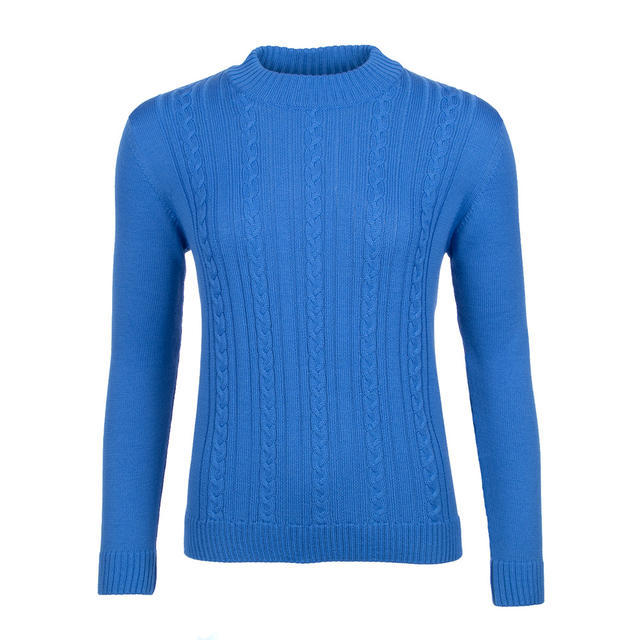 Women's patterned wool sweater made of Extra Fine Merino wool - Blue Heaven - 1