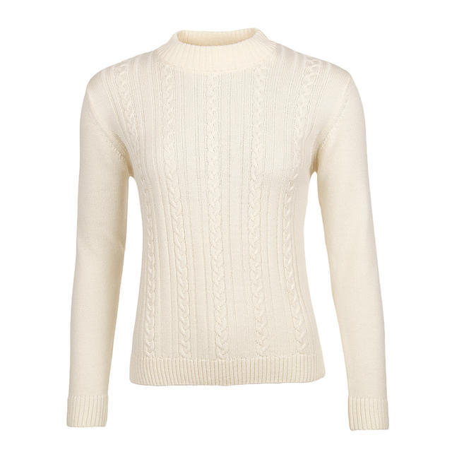 Women's patterned wool sweater made of Extra Fine Merino wool - Vanilla Ice - 1