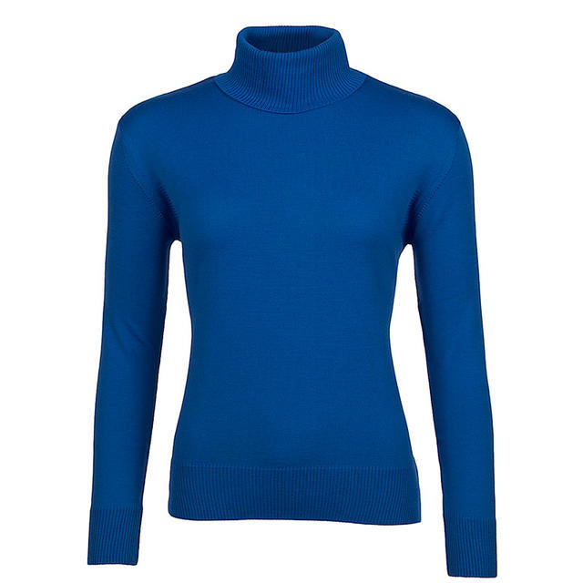 Women's polo neck sweater made of Extra Fine Merino wool - Blue Heaven - 1