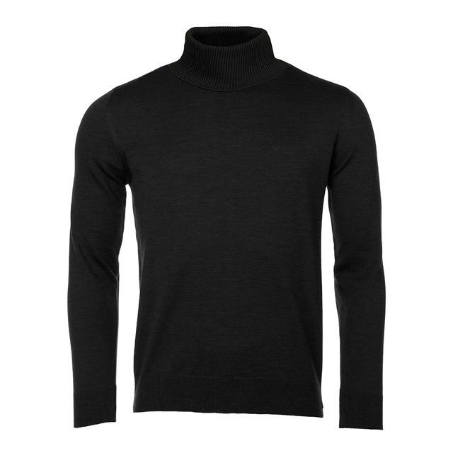 Men's polo neck sweater made of Extra Fine Merino wool - black - 1