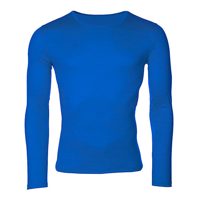 Men's functional T-shirt made of Merino wool - long sleeves - blue, L - 1