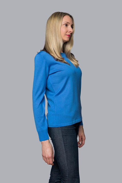 Women's wool sweater made of Extra Fine Merino wool - Blue Heaven, XL - 2