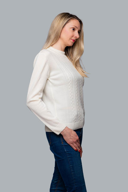 Women's patterned wool sweater made of Extra Fine Merino wool - Vanilla Ice, M - 2