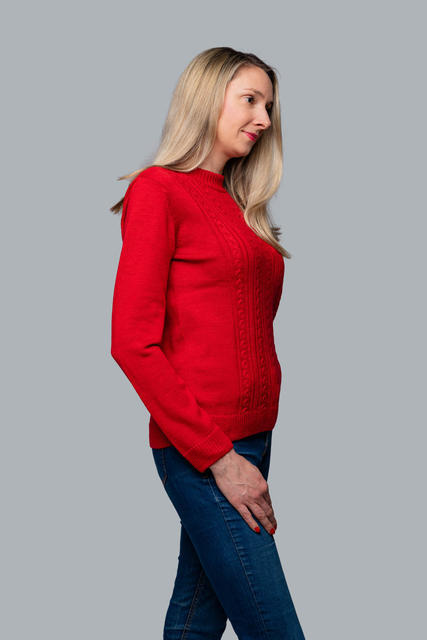 Women's patterned wool sweater made of Extra Fine Merino wool - Autumn Red - 2