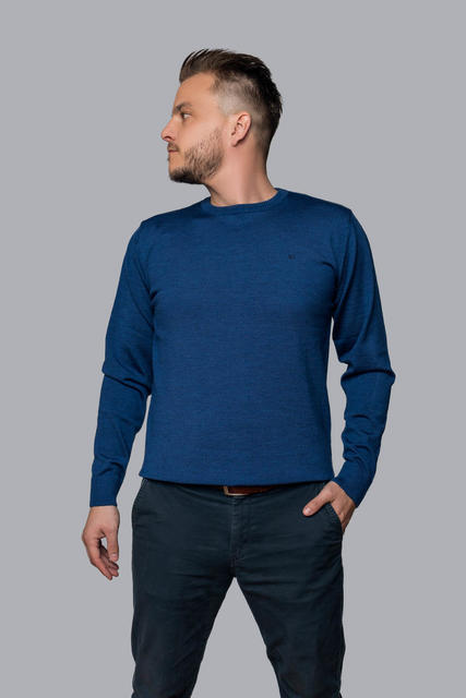 Men's wool Merino Extra Fine sweater - Navy Blue, L - 2