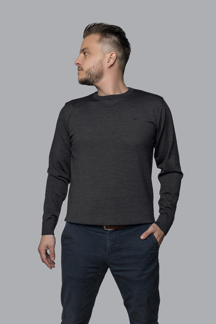 Men's wool sweater made of Extra Fine Merino wool - Black Night - 2