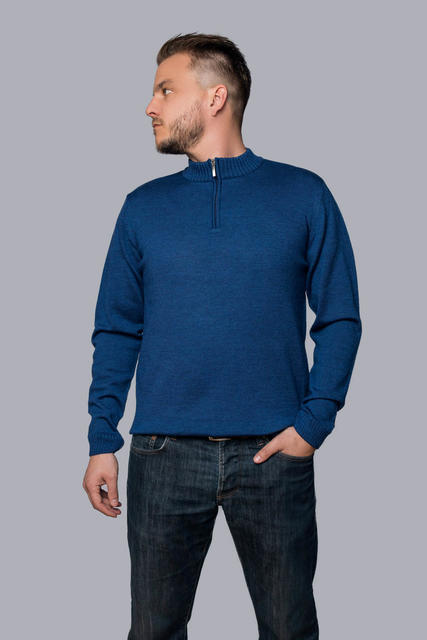 Men's wool sweater with zip fastener made of Extra Fine Merino wool - Navy Blue, XXL - 2