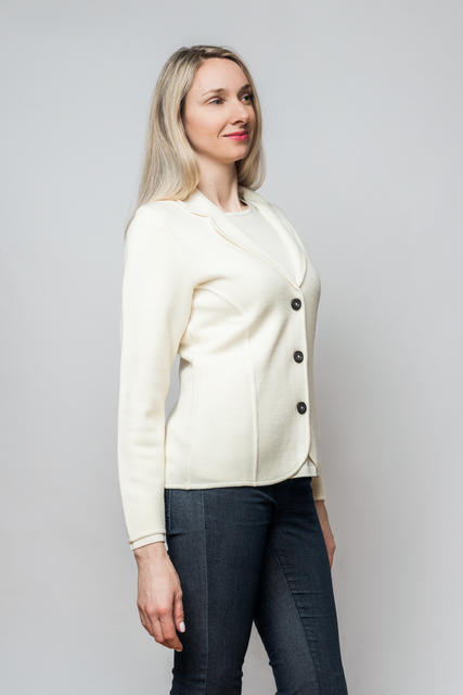 Women's woollen cardigan made of Extra Fine Merino wool - Vanilla Ice - 2
