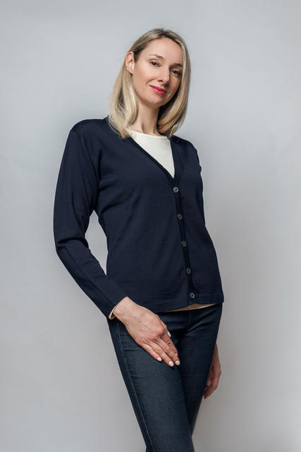 Women´s wollen sweater VK Merino Extra Fine - Dark Blue, M - 2