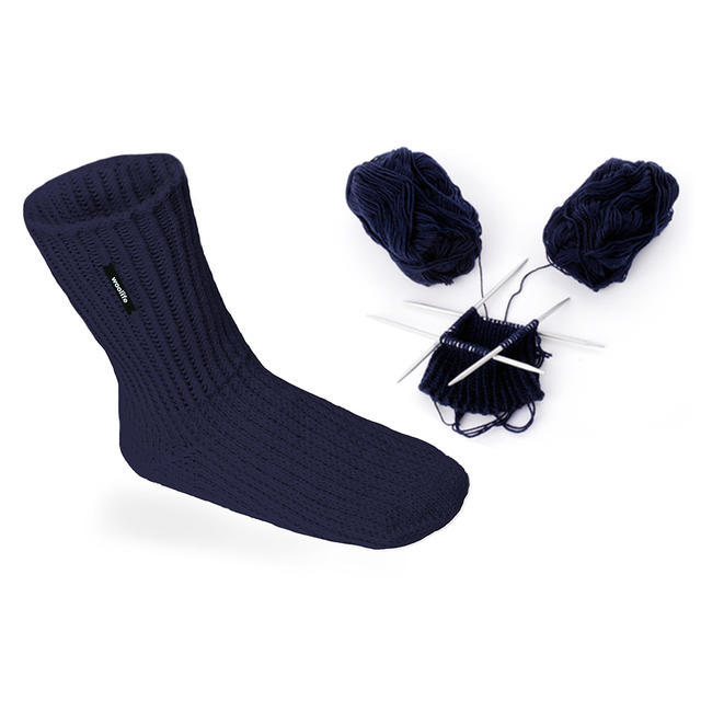 Hand-made knitted woollen socks Woolife Superwash - dark blue, 35 - 38 - 2