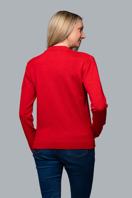 Women's patterned wool sweater made of Extra Fine Merino wool - Autumn Red - 3