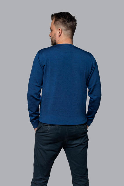 Men's wool Merino Extra Fine sweater - Navy Blue, L - 3