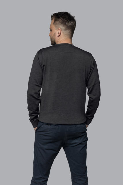 Men's wool sweater made of Extra Fine Merino wool - Black Night - 3