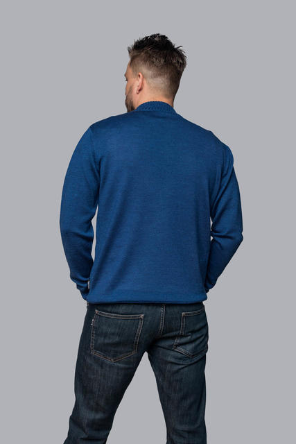 Men's wool sweater with zip fastener made of Extra Fine Merino wool - Navy Blue, XXL - 3