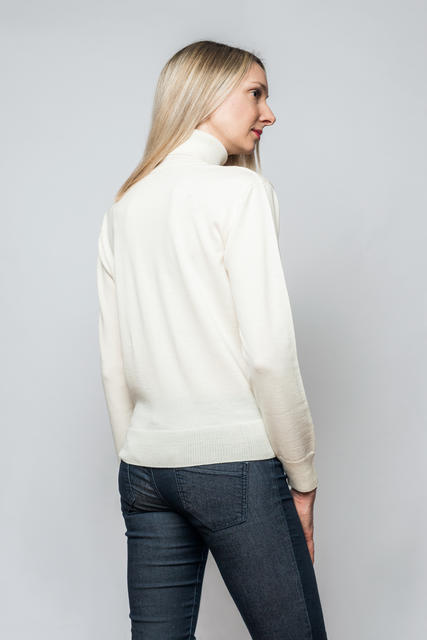 Women's polo neck sweater made of Extra Fine Merino wool - Vanilla Ice, M - 3