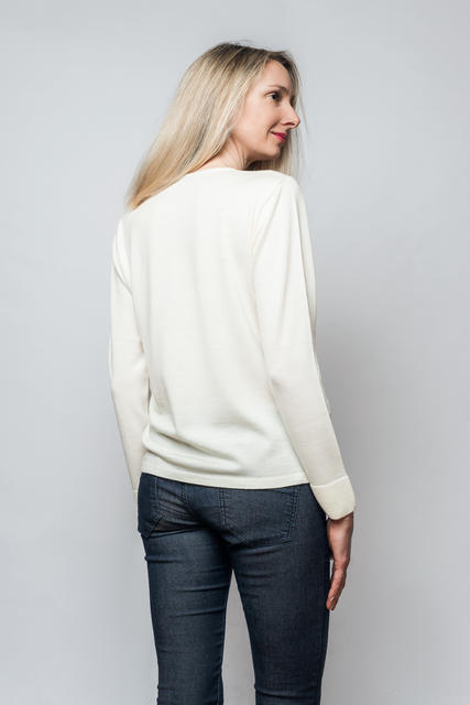 Women's wool sweater made of Extra Fine Merino wool - Vanilla Ice, S - 3