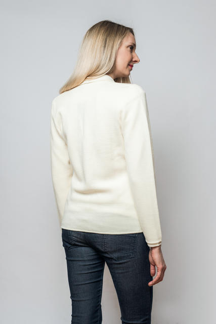 Women's woollen cardigan made of Extra Fine Merino wool - Vanilla Ice - 3
