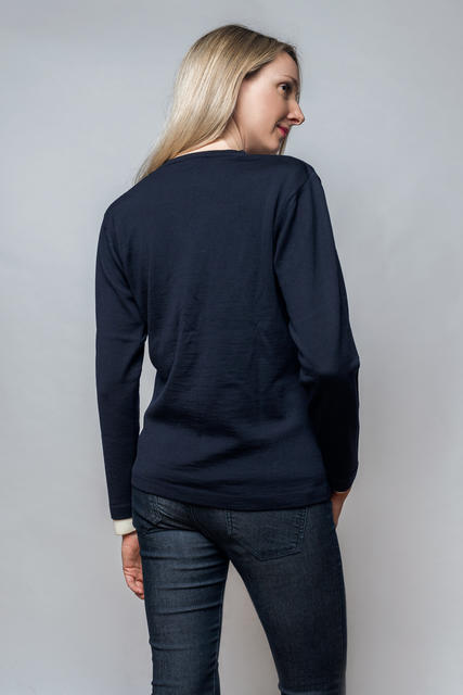 Women´s wollen sweater VK Merino Extra Fine - Dark Blue, XL - 3